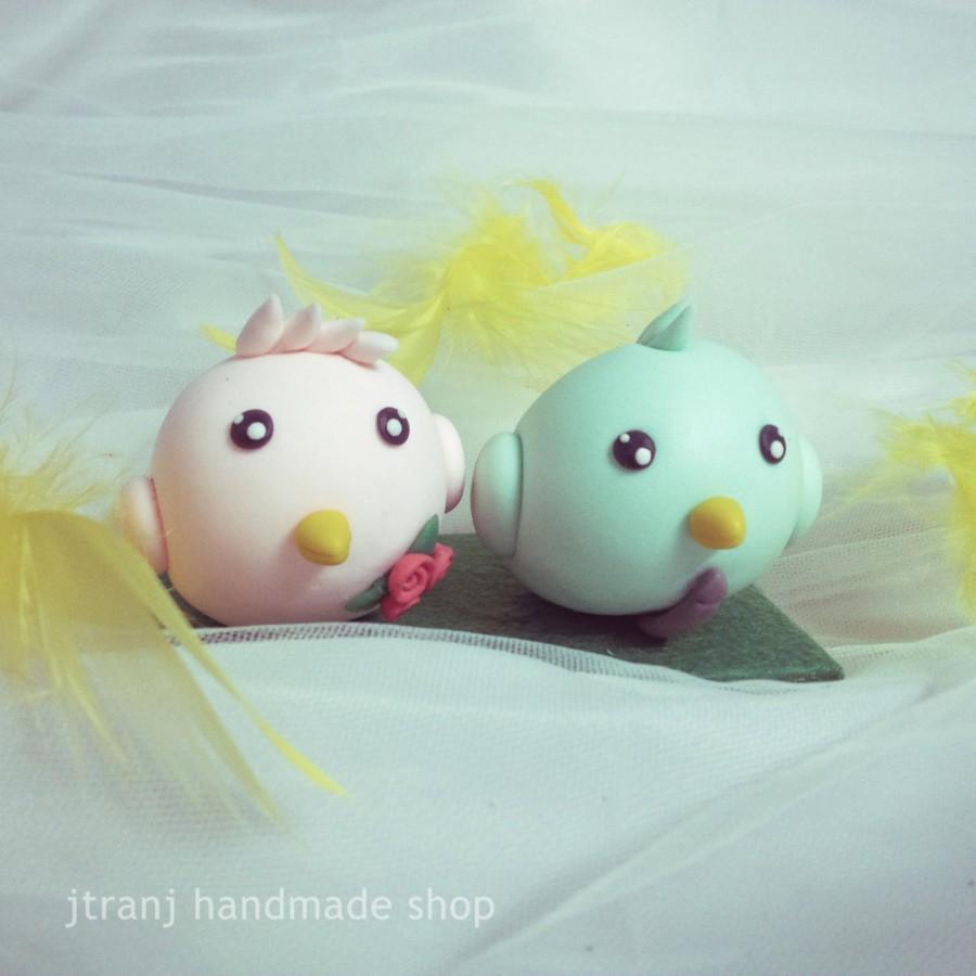 Свадьба - Birds couple Wedding cake topper, clay doll, clay figurine decor, clay miniature wedding gift