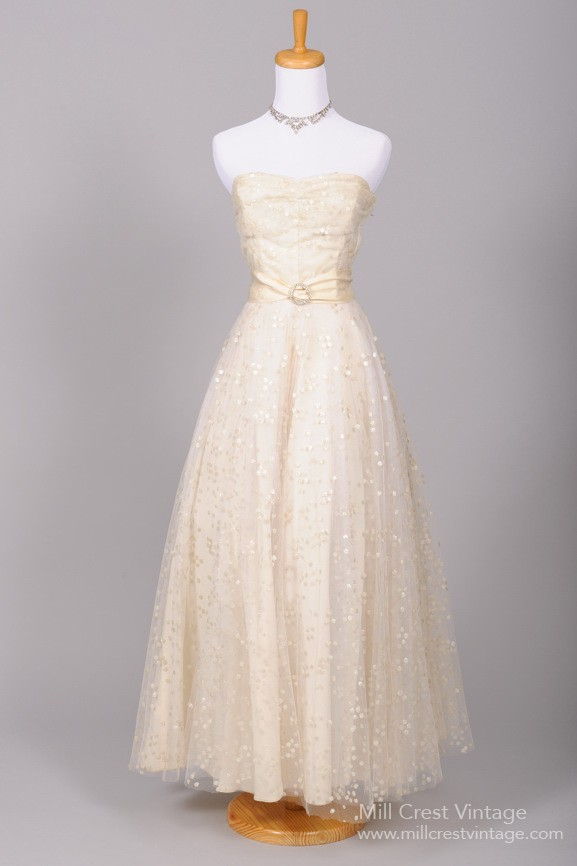 Mill crest vintage 1940 dotted sequin vintage wedding gown for Vintage wedding dress designers