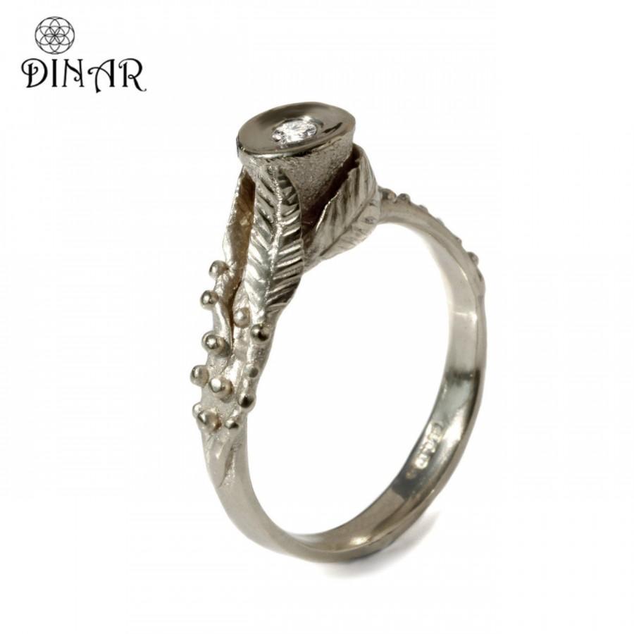Wedding - 14k white gold Diamond ring, Handmade leaf engagement ring, Alternative diamond ring, nature inspired handmade engagement gold ring