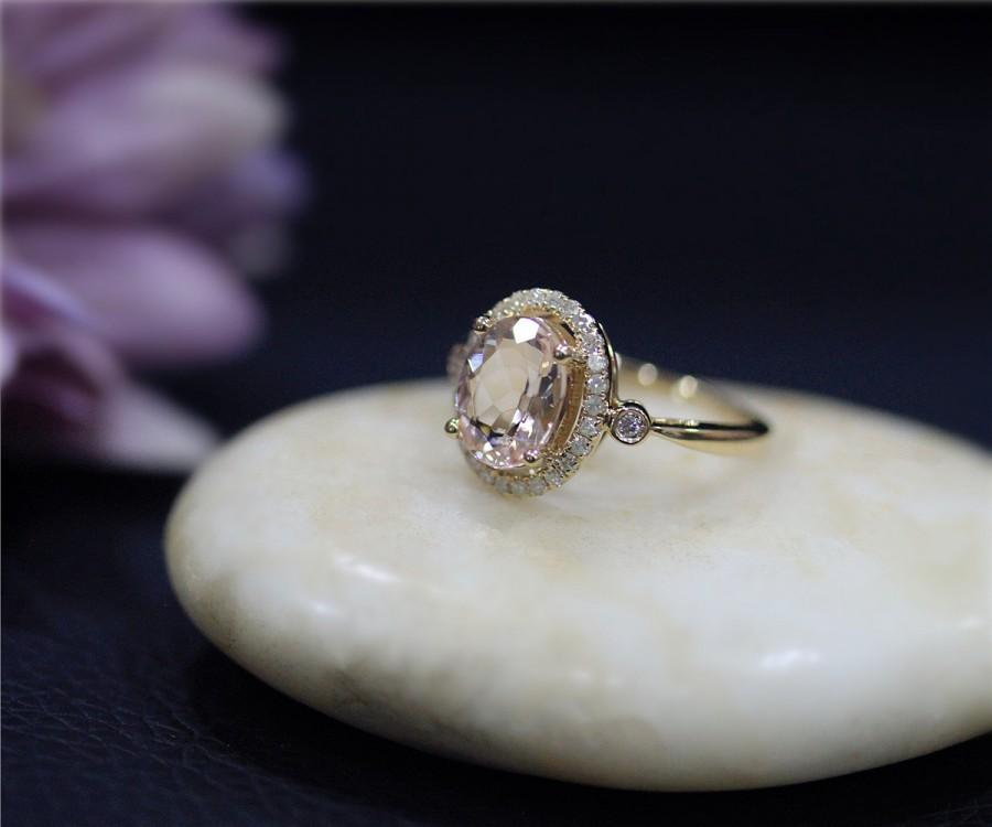 Solid 14k Yellow Gold Ring Engagement Ring 7x9mm Oval Natural Pink