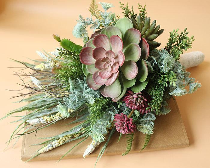 Rustic Garden Green Wedding Bouquet, Blush Bridal Bouquet, Flower ...