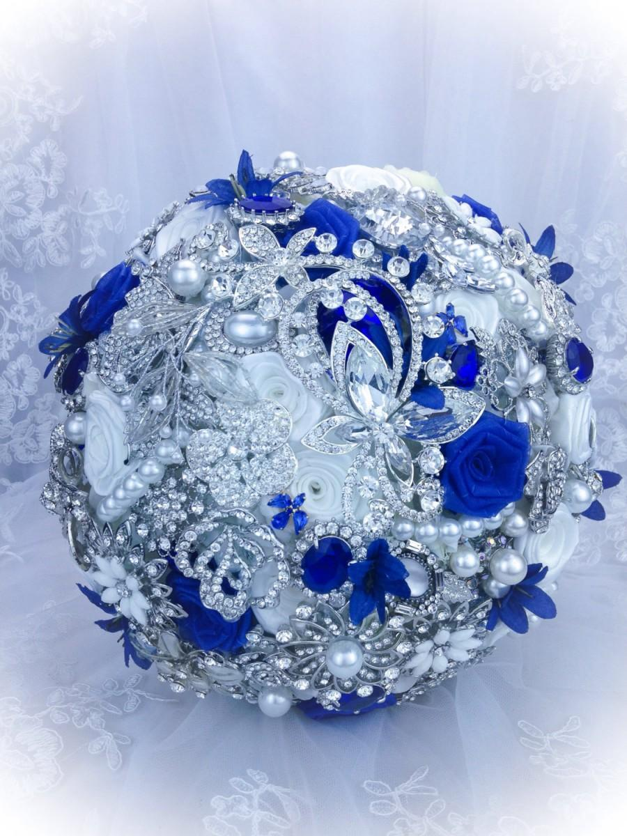Свадьба - Luxurious Pure White Royal Blue Brooch bouquet. DEPOSIT on Sapphire Blue bridal crystal bling broach bouquet.