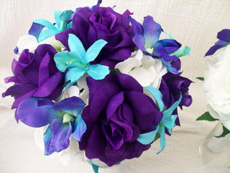 Mariage - Silk Bridal Bouquet Blue Dendrobium Orchids, Galaxy Orchids and Purple Rose Silk Wedding Package 10 Piece Made To Order