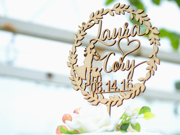 Mariage - Personalized Wedding Cake Topper, Custom Linden Wood Mr and Mrs Cake Topper, A Cake Topper Personalized with YOUR Name #131