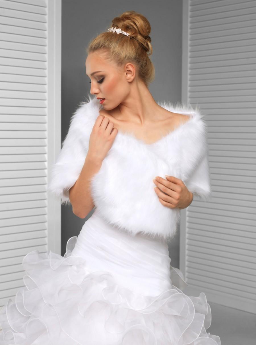 Свадьба - Bridal Faux Fur Shrug Stole Shawl Wrap