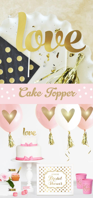 زفاف - Gold LOVE Cake Topper Wedding Cake Topper Gold Cake Topper Wedding Shower Engagement Bridal Shower Cake Topper (EB3116) love CAKE TOPPER