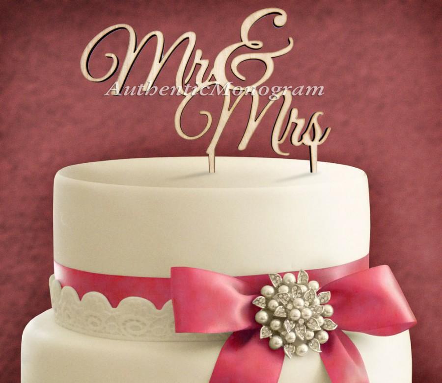 "Hochzeit - 6"" Wooden Unpainted Cake Topper ""Mr & Mrs"" Monogram, Wedding decor, Anniversary, Initial, Celebration, Anniversary, Special Occasion 4102"