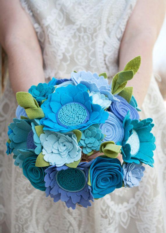 """Hochzeit - Felt Bouquet - Wedding Bouquet - Alternative Bouquet - """"Blue Bird"""""""