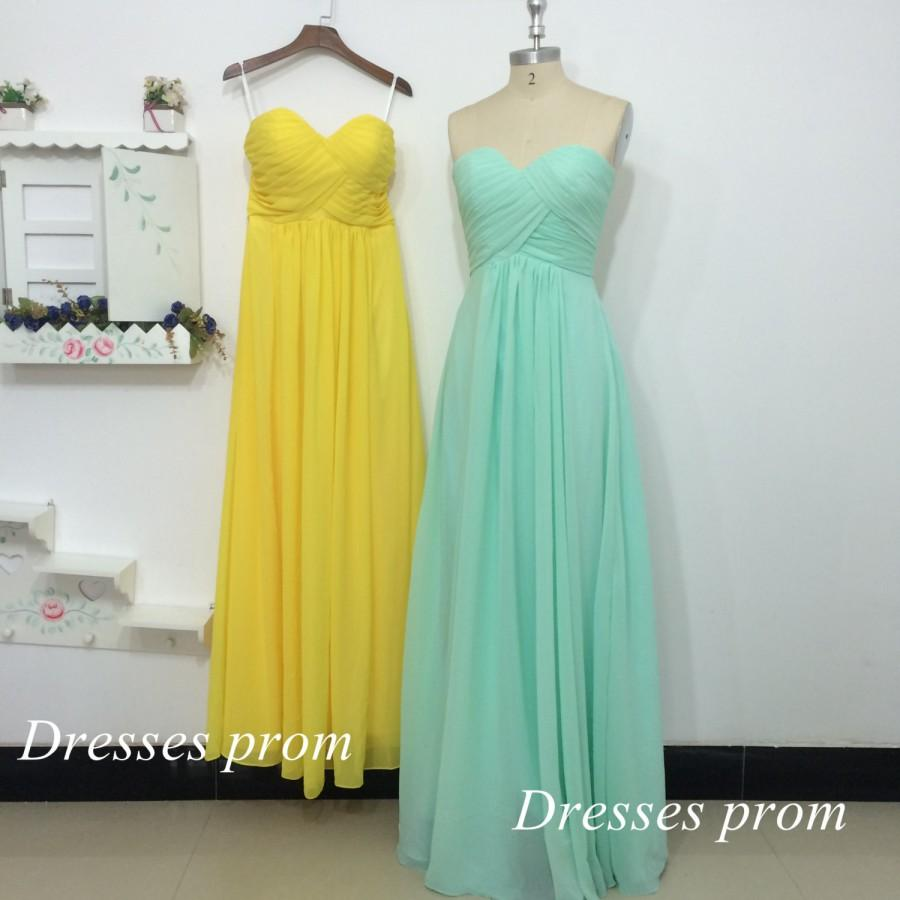 زفاف - Yellow Mint Prom Dresses A-line Sweetheart Zipper Elegant Ruffles Dress Women Formal Evening Bridesmaid 2015 New