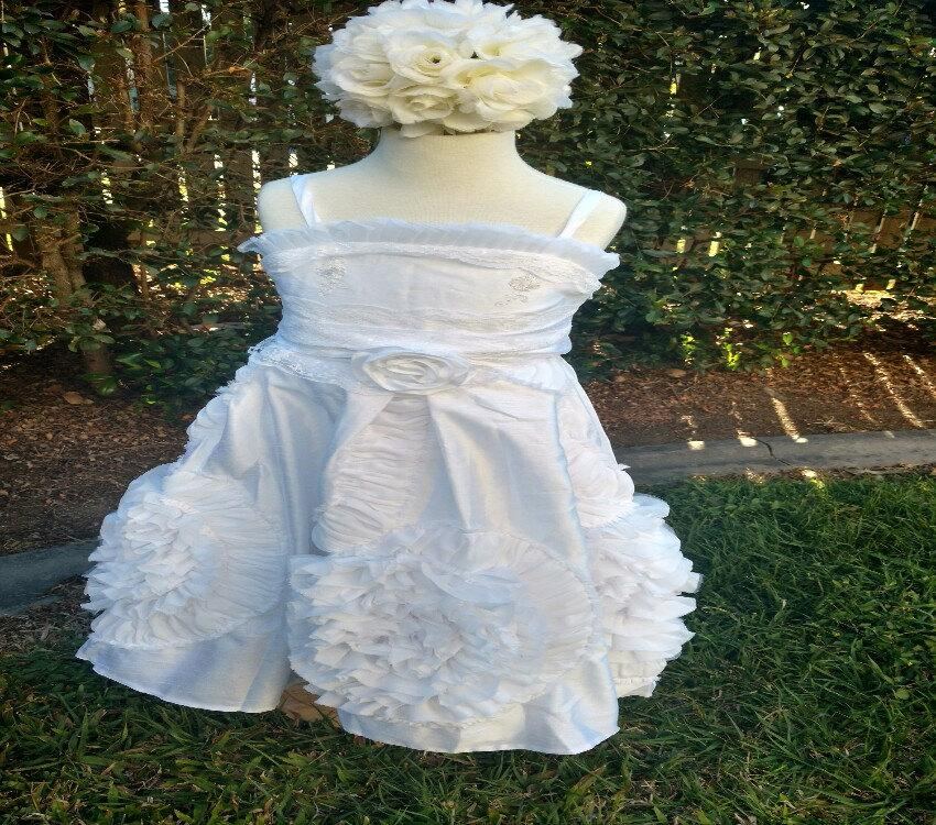 Hochzeit - White or Ivory Ruffled lace flowergirl dress Weddings Christening Baptism dress Customised  to suit your color  theme