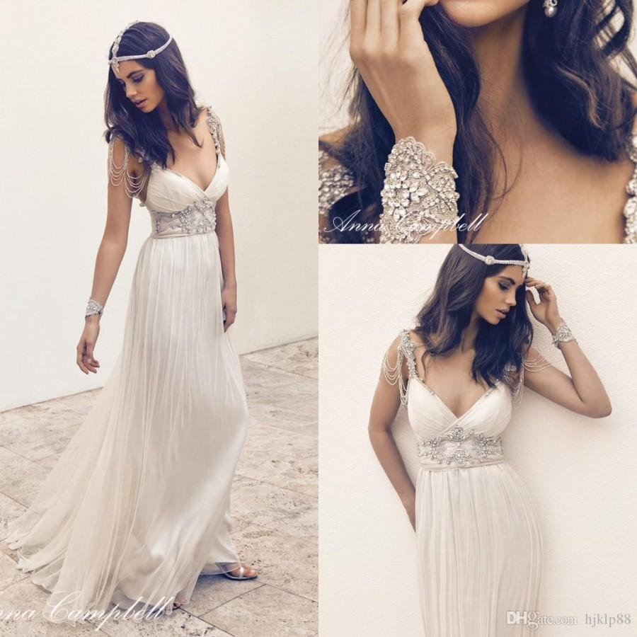 Anna Campbell Wedding Dress: Anna Campbell Sexy V-neck Beaded Ruched A-line Wedding