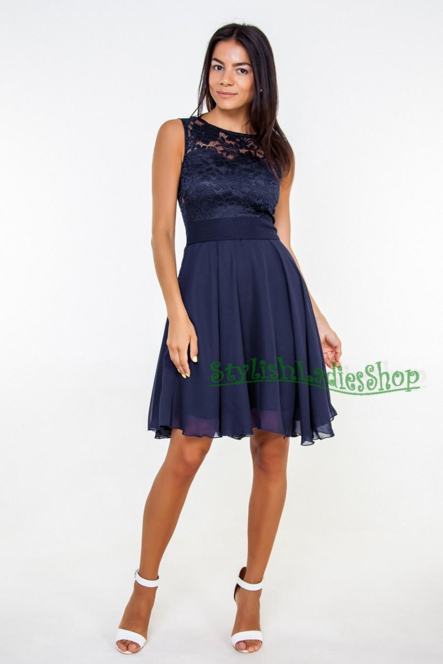 Navy Blue Bridesmaid Dress Lace Short Chiffon Dark Bridesmaids