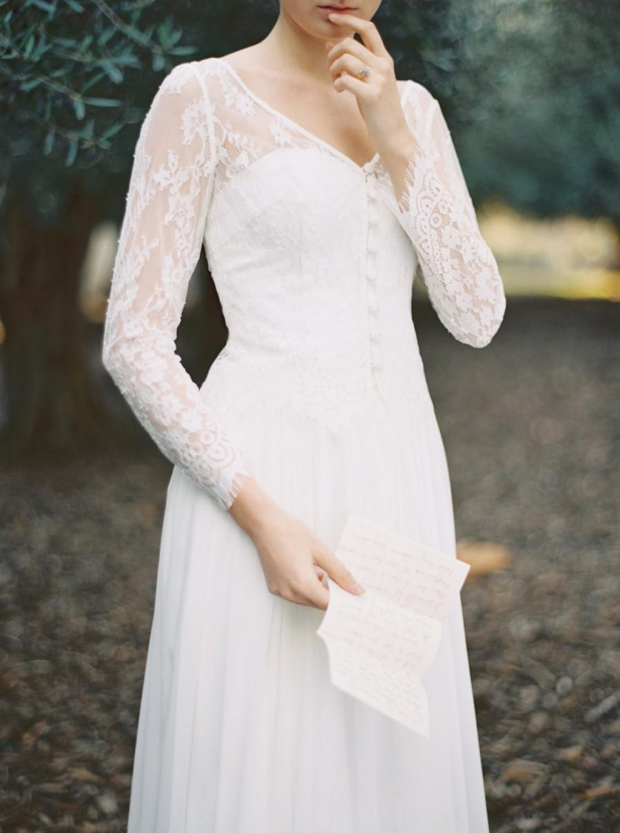 Long sleeve lace topper perfect to wear over a simple for Simple long sleeve wedding dresses