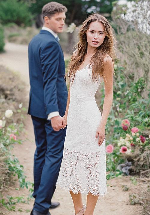 Hochzeit - Italian lace dress - delicate italian lace v-neck, high-low little white dress