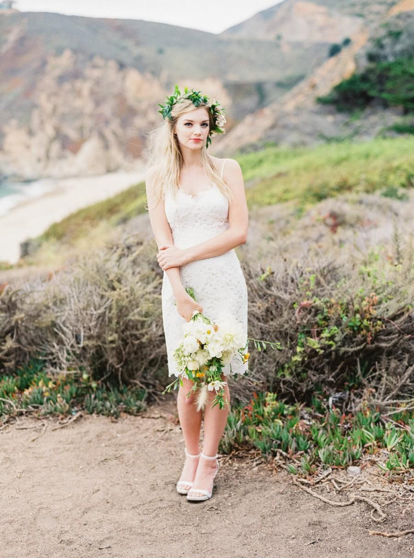 Maui Dress Knee Length Lace Adorned Strap Short Wedding Dress