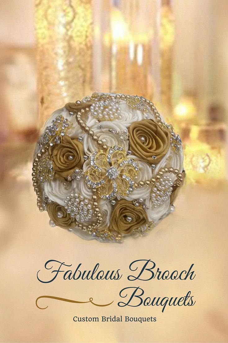 Hochzeit - Brooch Bouquet, Gatsby Bouquet, Hollywood Glam Bouquet,  Gold & Ivory Brooch Bouquet, Deposit ,Full Price 300.00