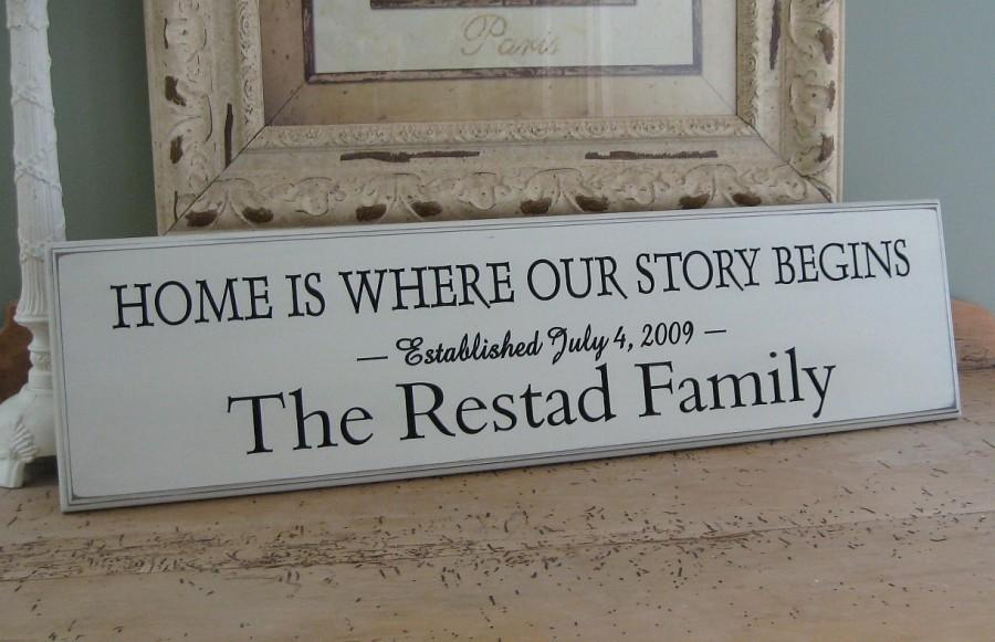 Свадьба - Home is where our story begins .....Carved Personalized Family Name Sign  8 x 30