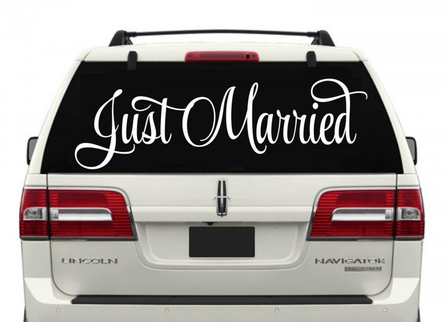 Свадьба - Just Married RLC 9 Car Window Decal W3- Wedding Decor- Just Married Decals- Just Married Car Decals- Just Married Car Window Decals