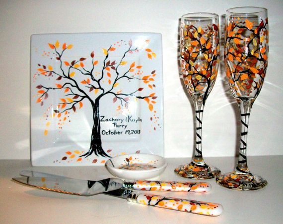 Mariage - Fall Autumn Hand Painted Champagne Flutes & Cake Knife And Server Set Ring Dish And Cake Plate Fall Leaves Wedding Anniversary Orange Yellow