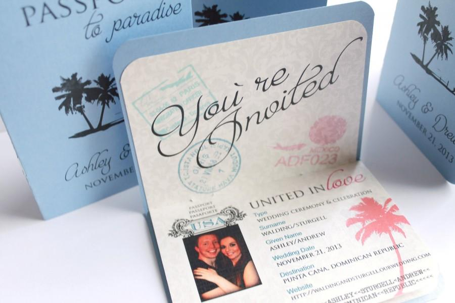 Passport Boarding Pass Wedding Invitation For Destination, Tropical ...