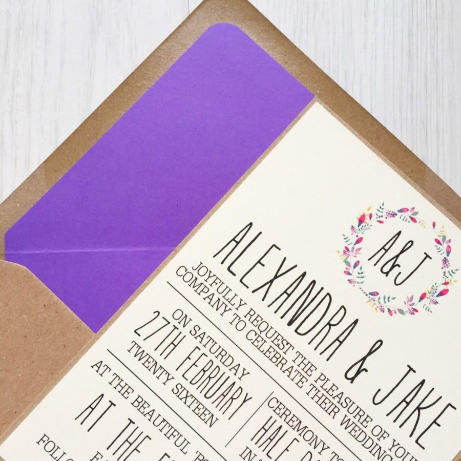 زفاف - Rustic wedding invitation - purple wreath - kraft wedding invitation - rustic wedding invitation bundle
