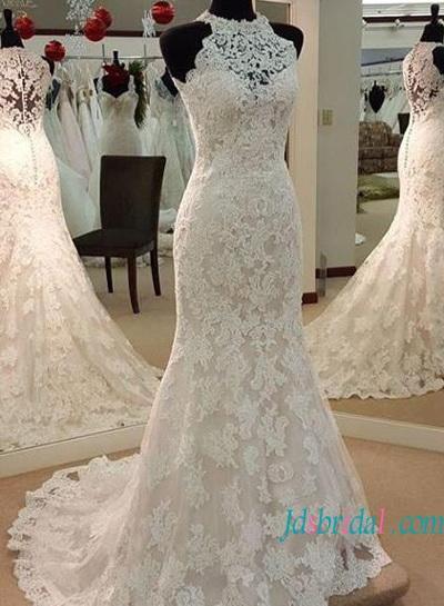 Wedding - Elegant halter high neck lace mermaid wedding dress
