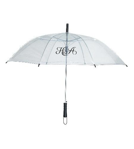 Mariage - 25 Clear Wedding Umbrellas, Personalized with Custom Logo, Don't Let Your Special Day Get Ruined By Rain or Blocked by Solid Umbrellas