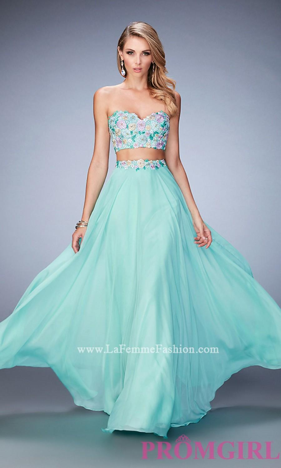 Mint Green Two Piece La Femme Sweetheart Long Prom Dress ...