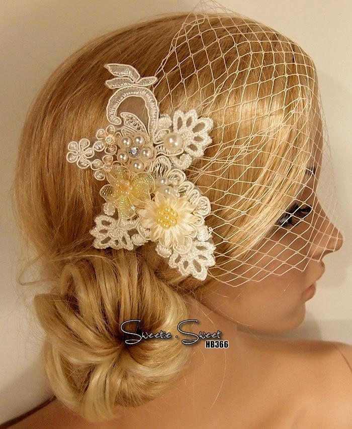 Свадьба - Bridal Veil, Wedding Veil, Bridal Comb, Face Veil, Birdcage Veil, mini veil, Blusher veil, Ivory lace Flower Fascinator, Head piece