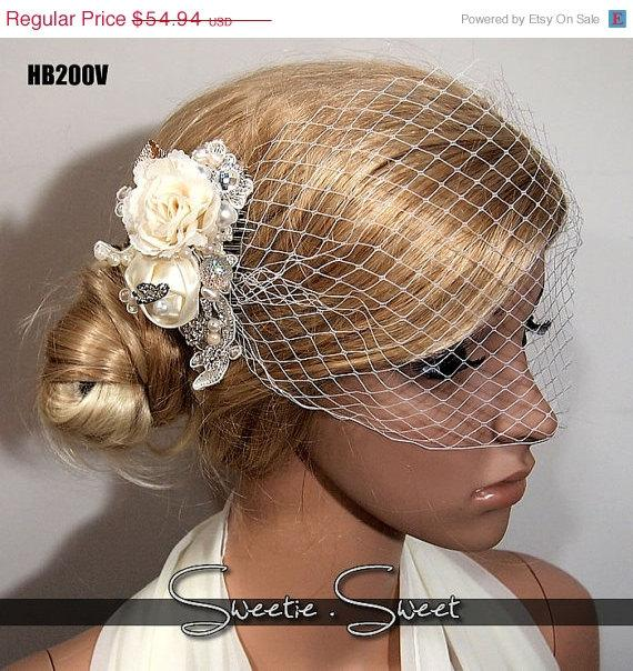 Свадьба - Vintage Wedding bridal hair comb with handmade flowers lace crystals and pearl HB200