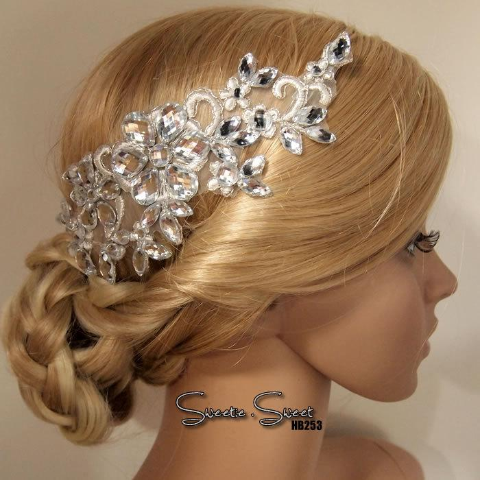 Mariage - Bridal Hair Comb, Wedding Hair Comb, bridal Fascinator, Rhinestone Hair Comb, Bridal Head piece, Rhinestone Headpiece HB253