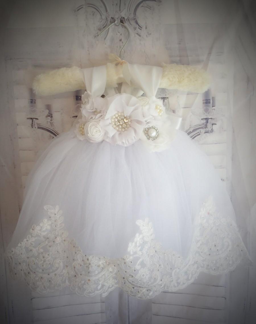 "Mariage - NEW Princess Collection ""The Eleanor Dress""-White Flower Girl Tutu Dress-Ivory Flower Girl Dress-Baptism Dress-Christening Dress-Wedding"