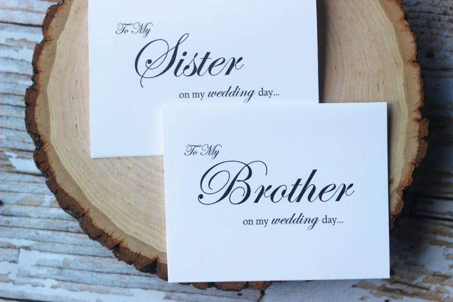 Свадьба - To My Sister on My Wedding Day, To my brother on my wedding day, Brother of the Bride, Sibling wedding card, Wedding Card,