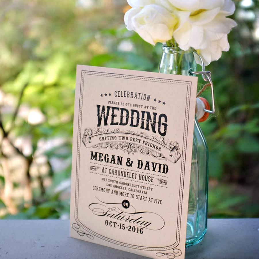 Alchemy: Kraft Eco Wedding Invitation / Vintage Charm / Rustic Barn ...