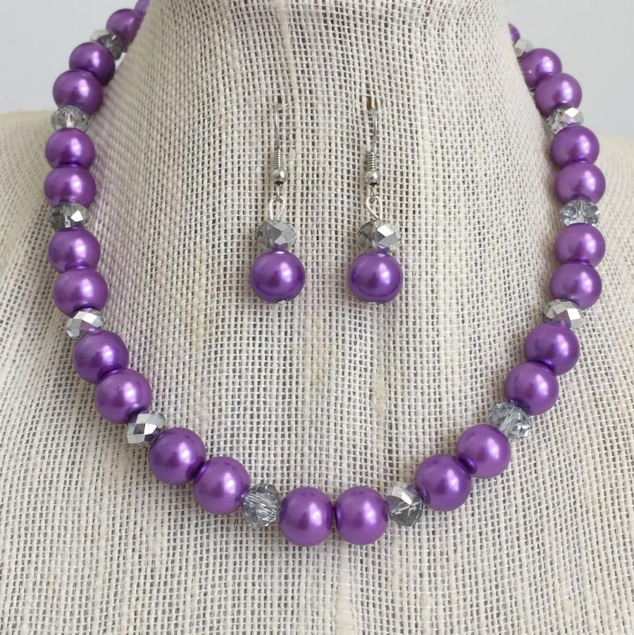 Purple Pearl Necklace, Purple Wedding Jewelry Set, Rhinestone Bridal ...