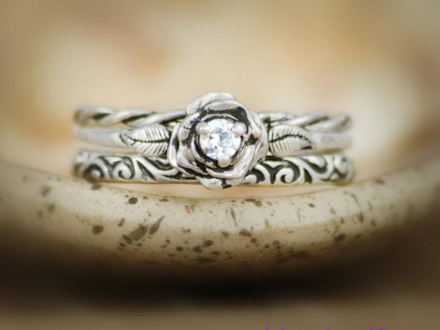 Mariage - Three Ring Rose Engagement Set with White Sapphire in Sterling - Silver Twist Band and Swirl Pattern Band Accent Rings - Wedding Ring Set