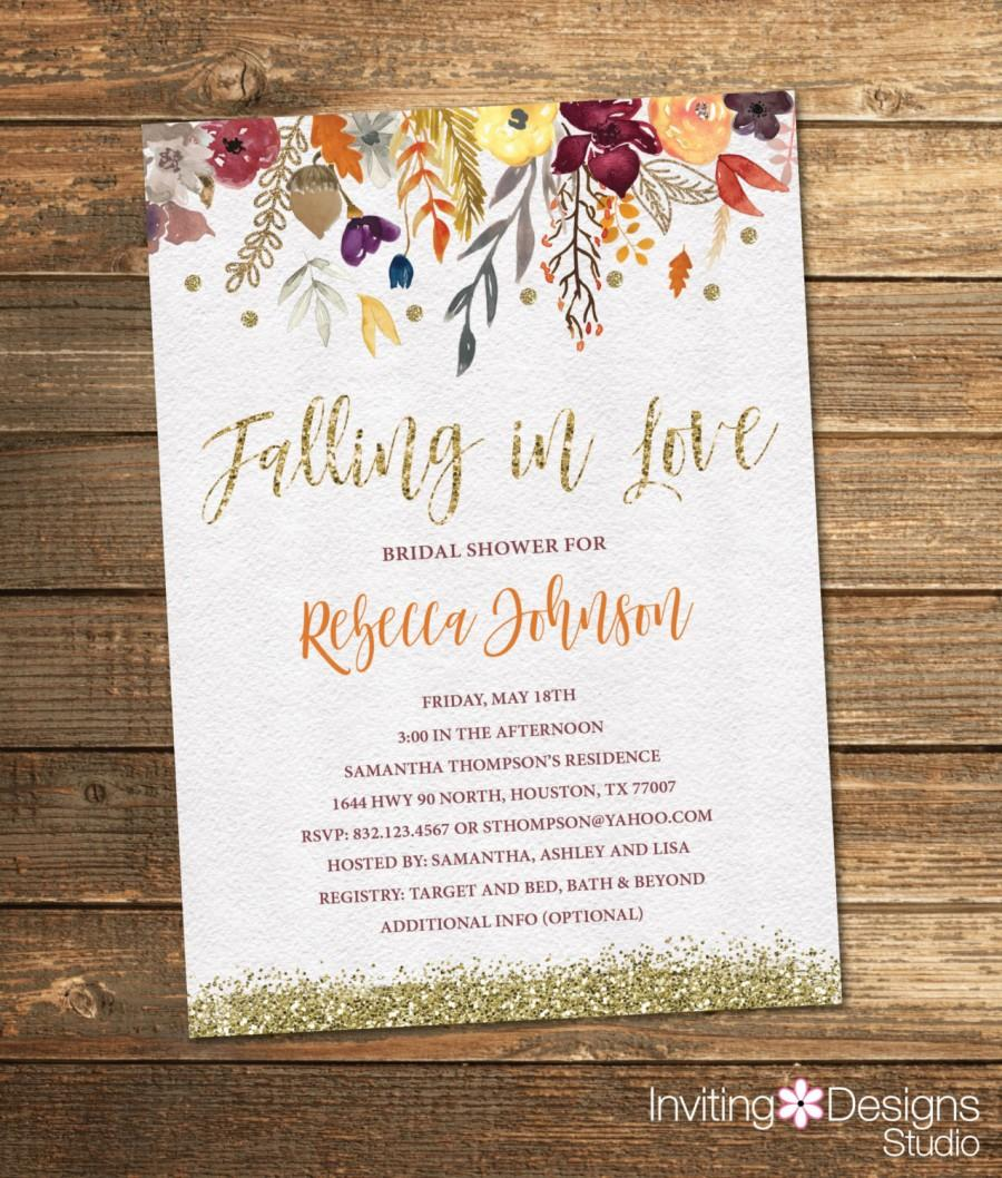Mariage - Fall Bridal Shower Invitation, Autumn Bridal Shower, Flowers, Watercolor, Floral, Gold Glitter, Vintage (PRINTABLE FILE)