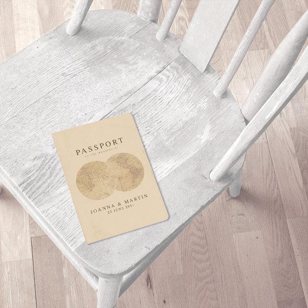 Свадьба - antique chic travel passport wedding invitation or ceremony program printable file vintage, order of service, travel destination wedding diy