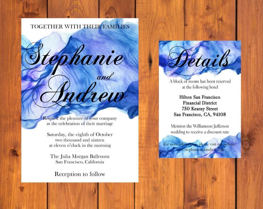 Свадьба - Seaside Wedding Invitation Suite - Save the Date, RSVP, Thank you card - Printable, Custom, Download - Invite Set - Envelope liner
