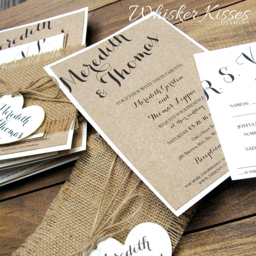 Rustic Wedding Invitation ~ Burlap, Twine ~ Country, Barn, Kraft ...