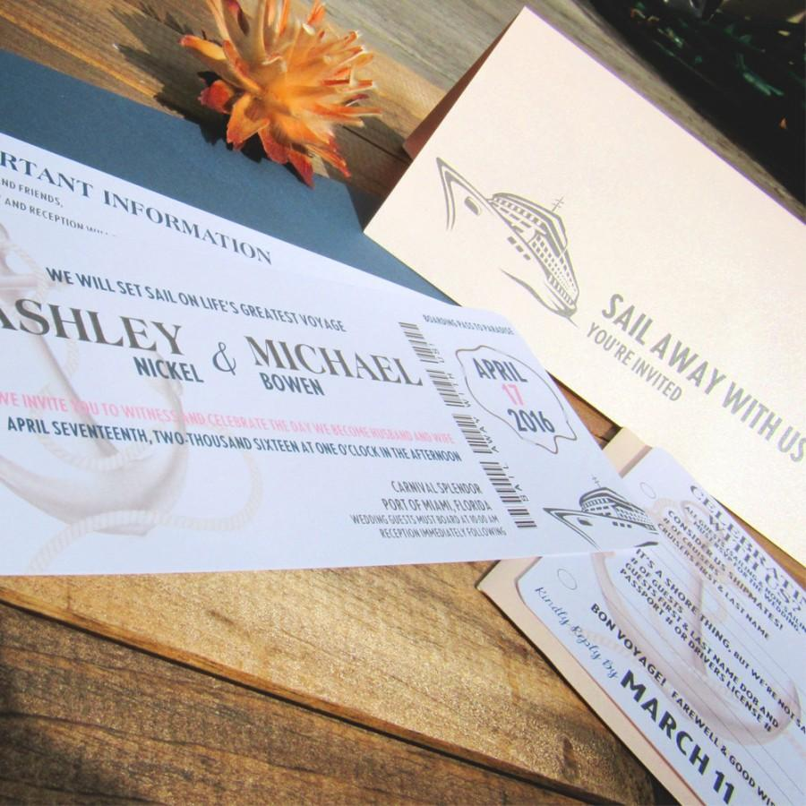 Hochzeit - Boarding Pass Wedding Invitation ~ Sail away with us ~ Ticket ~ Carnival Cruise, Caribbean, Passport ~ Bermuda, Florida, Mexico, Aruba, Bali
