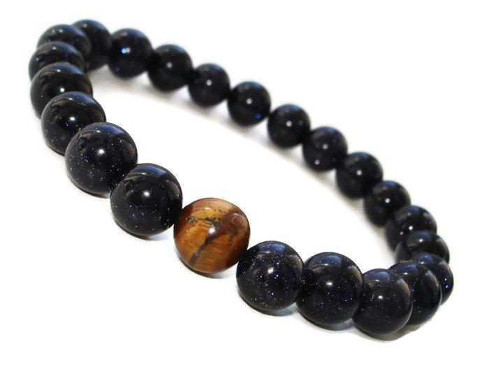 Gemstone Stretch Bracelet For Him Meditation Chakra Mala Mens Protection Men Tiger Eye Blue Goldstone Stone