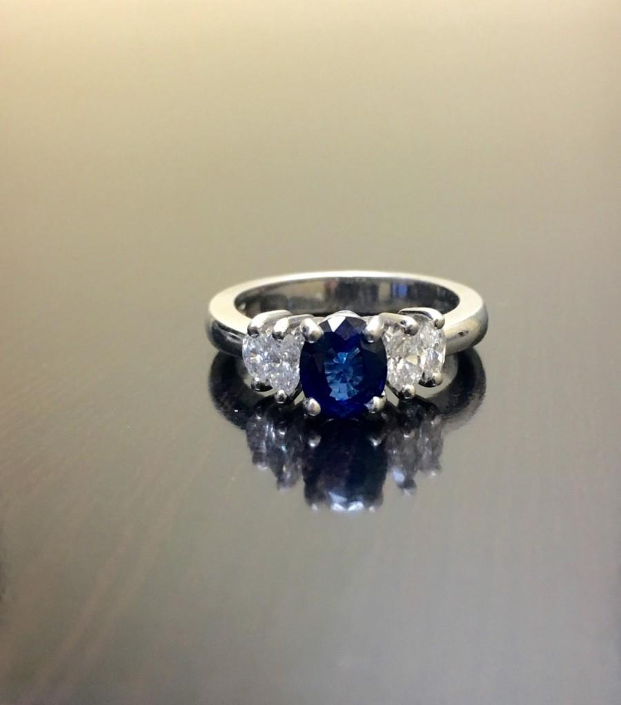 Art Deco Platinum Ceylon Blue Sapphire Diamond Engagement