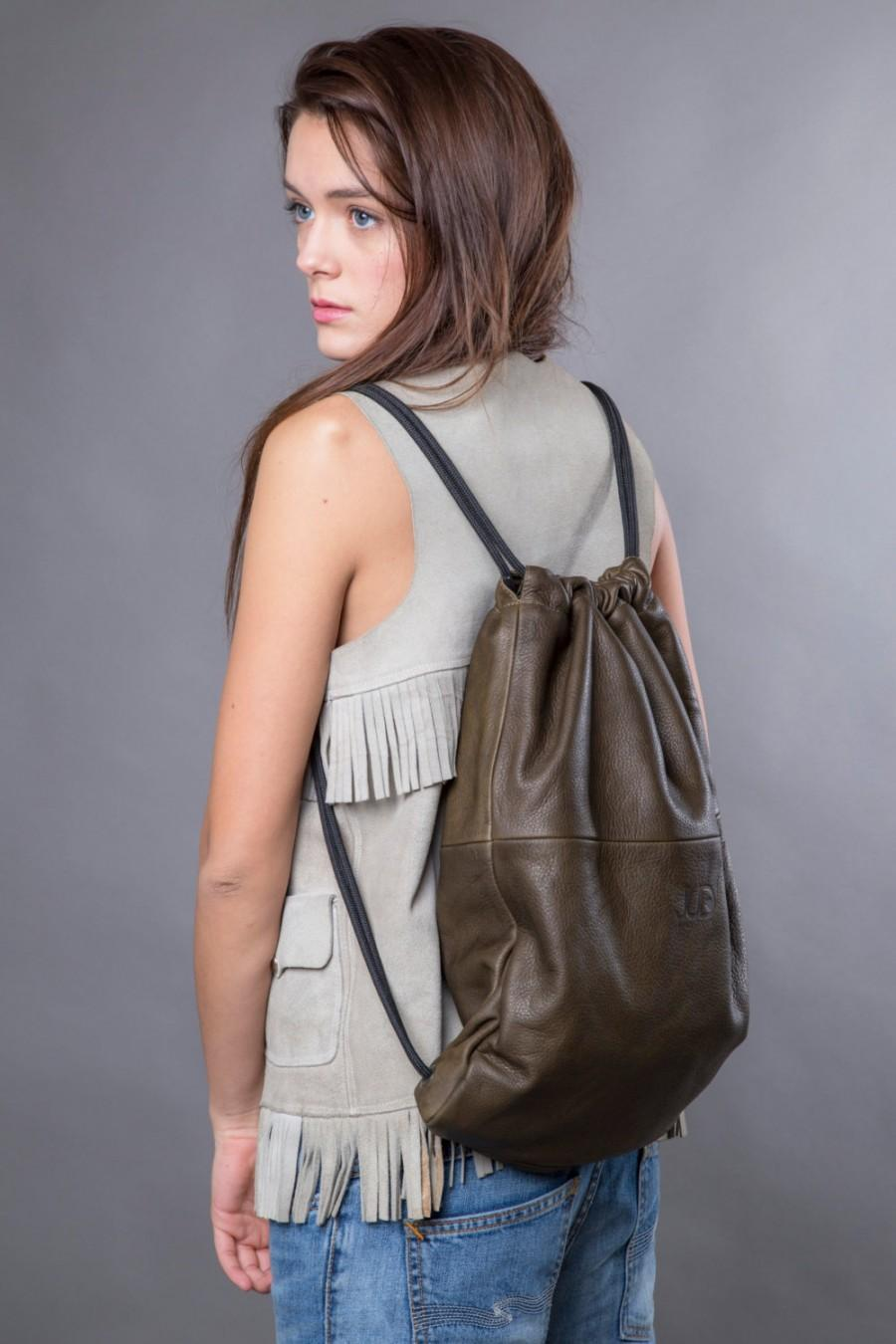 Backpack Olive green leather backpack purse SALE multi leather back bag  women leather handbag cinch sack leather tote drawstring back pack 516e1c736