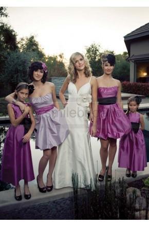 Mariage - Draped Color Sash Mini Length Bridesmaid Gowns