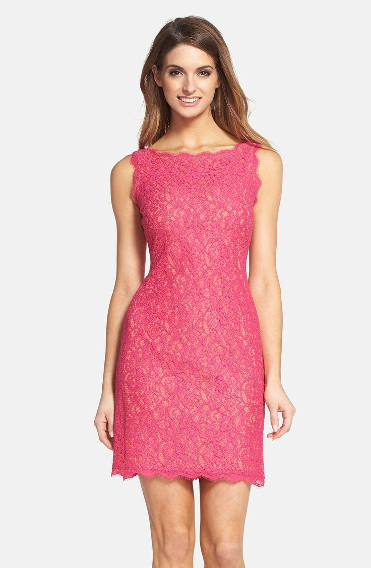 0500ab18 Adrianna Papell Boatneck Lace Sheath Dress (Regular & Petite ...