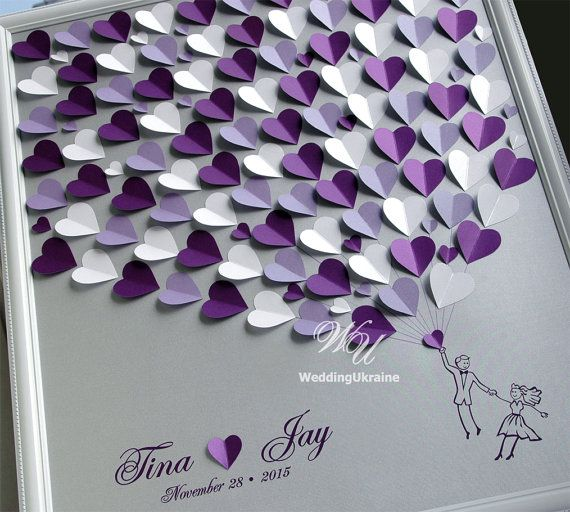 Wedding Guest Book Ideas - Silver And Purple Weddings Tree - Wedding ...