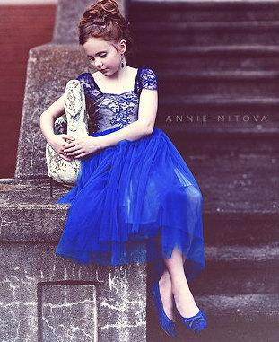 b7f952bfa ROYAL BLUE Solstiss French Lace And Silk Tulle Flower Gilr Dress ...