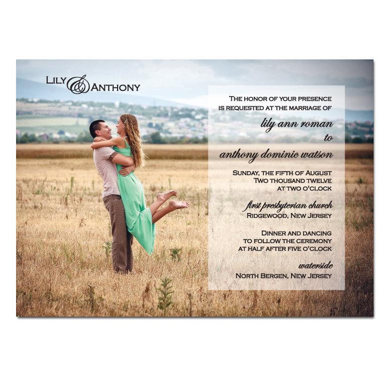 Свадьба - Photo Wedding Invitation DIY PRINTABLE Digital File or Print (extra)