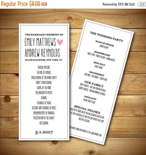Свадьба - Wedding Program Template - Printable Wedding Program - DIY Wedding Program Template  - Instant Download - Freesia Collection